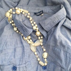 Long mixed pearl Swarovski glass resin necklace